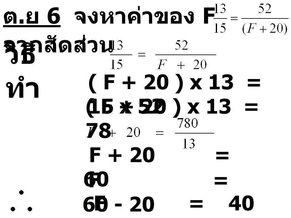 วิธีทำ ต.ย 6 จงหาค่าของ F จากสัดส่วน ( F + 20 ) x 13 = 15 x 52
