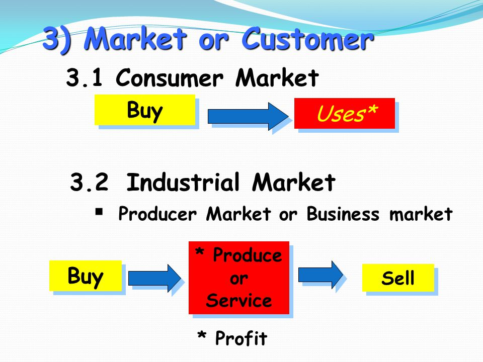 3) Market or Customer 3.1 Consumer Market 3.2 Industrial Market