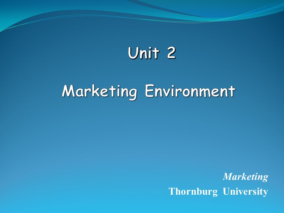 Unit 2 Marketing Environment