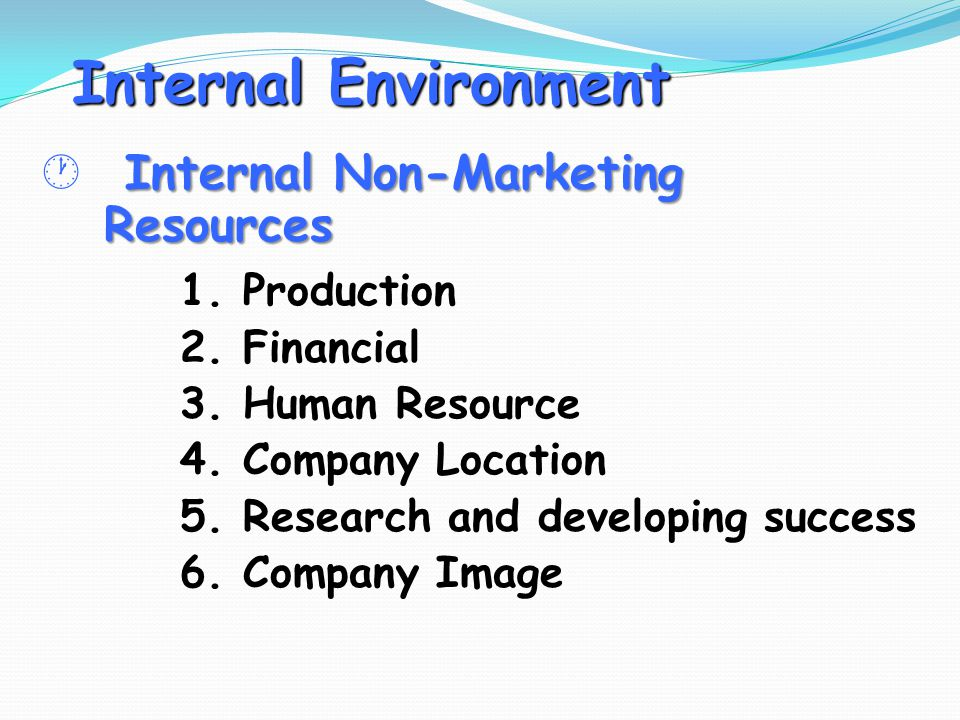 Internal Environment  Internal Non-Marketing Resources 1. Production
