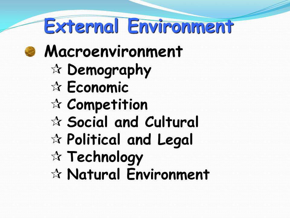 External Environment Macroenvironment Demography Economic Competition