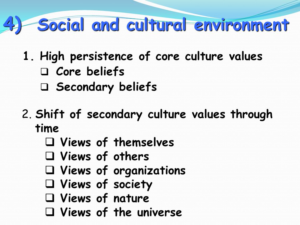 4) Social and cultural environment