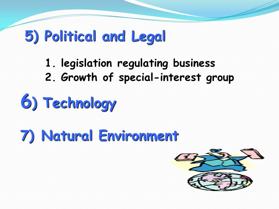 6) Technology 5) Political and Legal 7) Natural Environment