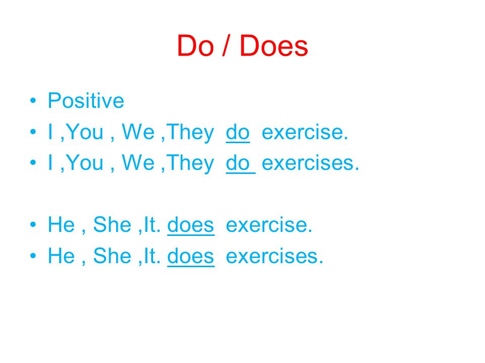 Do / Does Positive I ,You , We ,They do exercise.