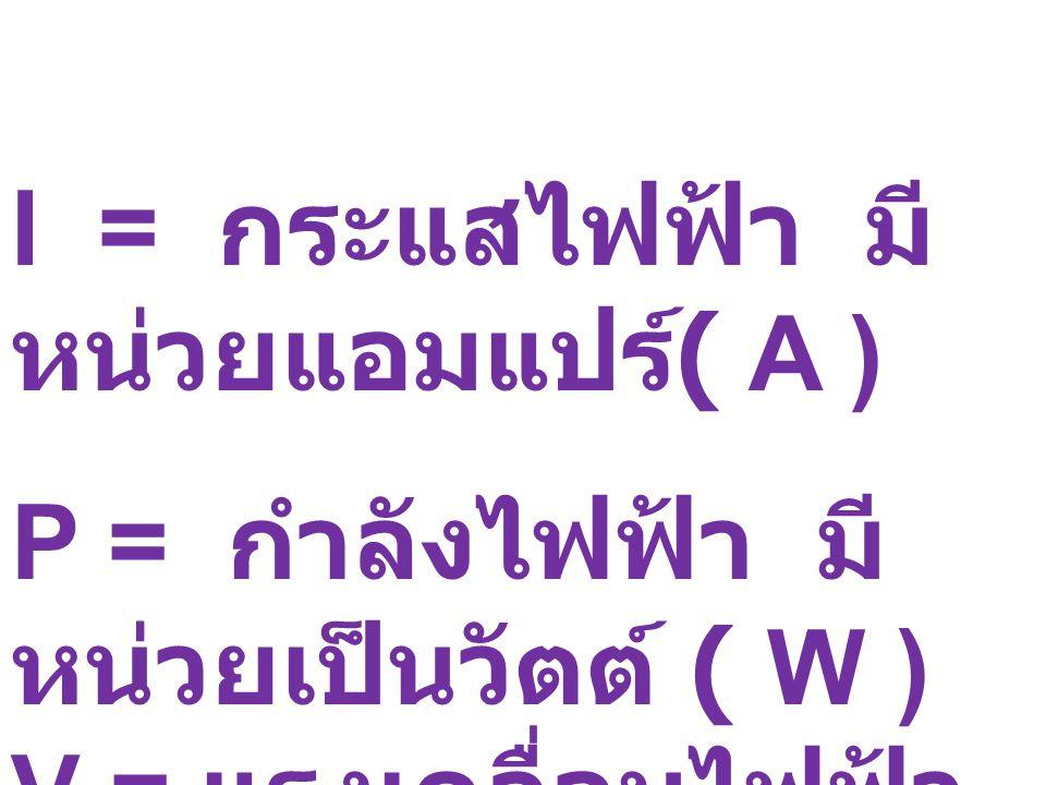 I = กระแสไฟฟ้า มีหน่วยแอมแปร์( A )