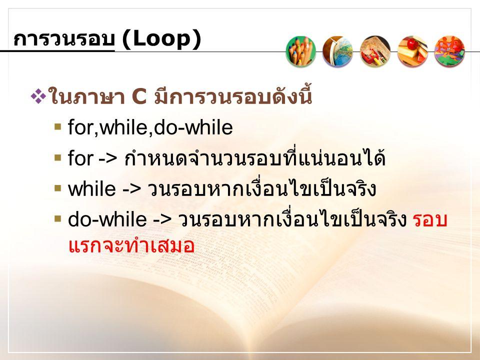 การวนรอบ (Loop) ในภาษา C มีการวนรอบดังนี้ for,while,do-while. for -> กำหนดจำนวนรอบที่แน่นอนได้ while -> วนรอบหากเงื่อนไขเป็นจริง.