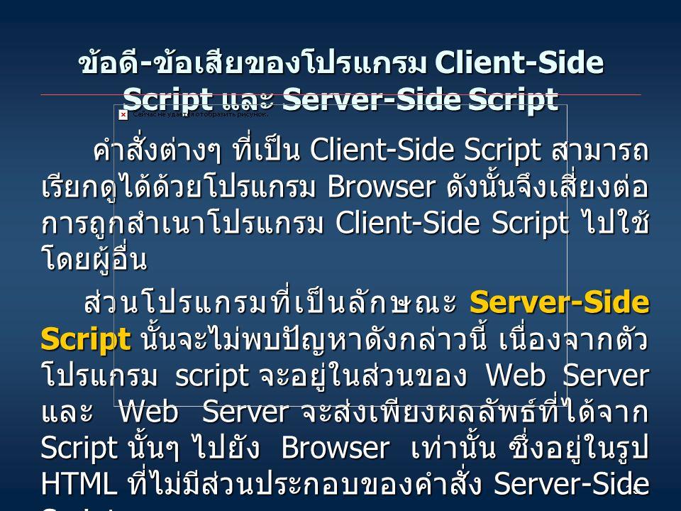 ข้อดี-ข้อเสียของโปรแกรม Client-Side Script และ Server-Side Script