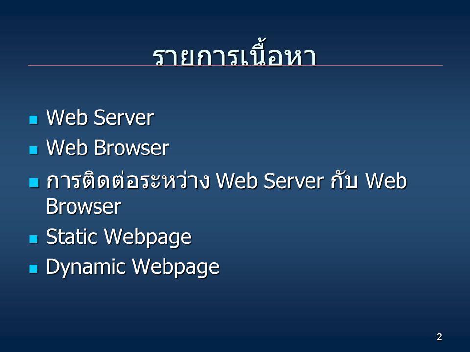 รายการเนื้อหา การติดต่อระหว่าง Web Server กับ Web Browser Web Server