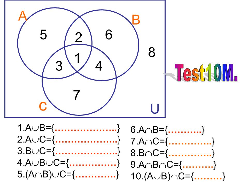 c A B 5 6 2 8 1 3 4 7 U Test10M. 1.AB={………………..} 6.AB={………..}