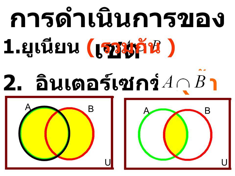 การดำเนินการของเซต 2. อินเตอร์เซกชัน(ซ้ำกัน) ยูเนียน ( รวมกัน ) A B A