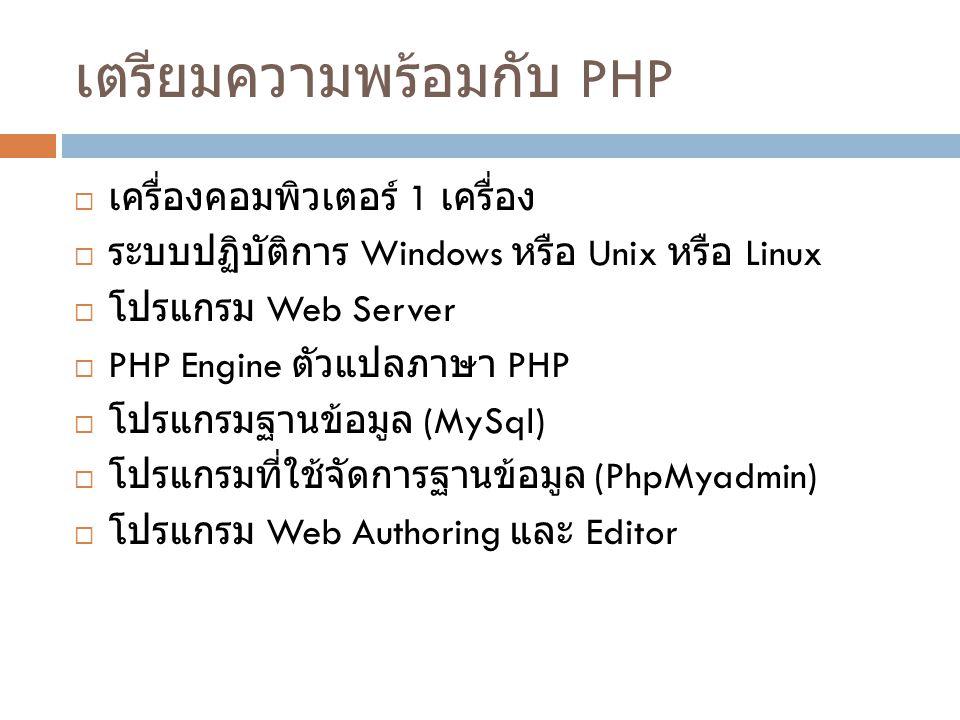เตรียมความพร้อมกับ PHP