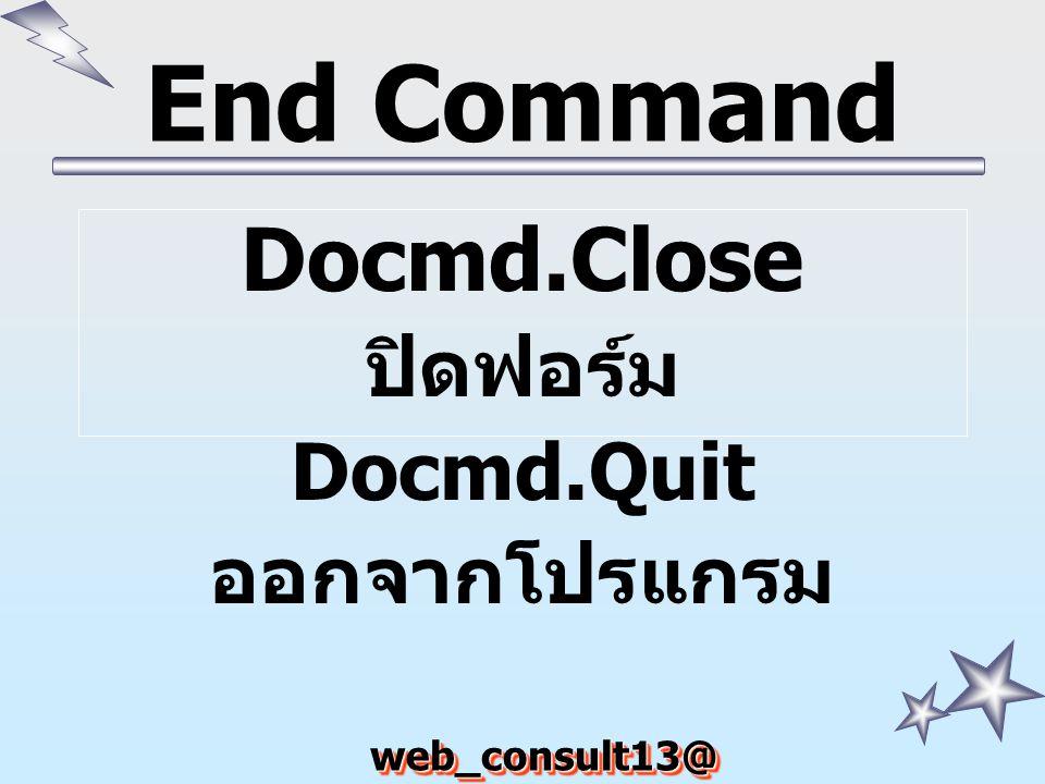 End Command Docmd.Close ปิดฟอร์ม Docmd.Quit ออกจากโปรแกรม