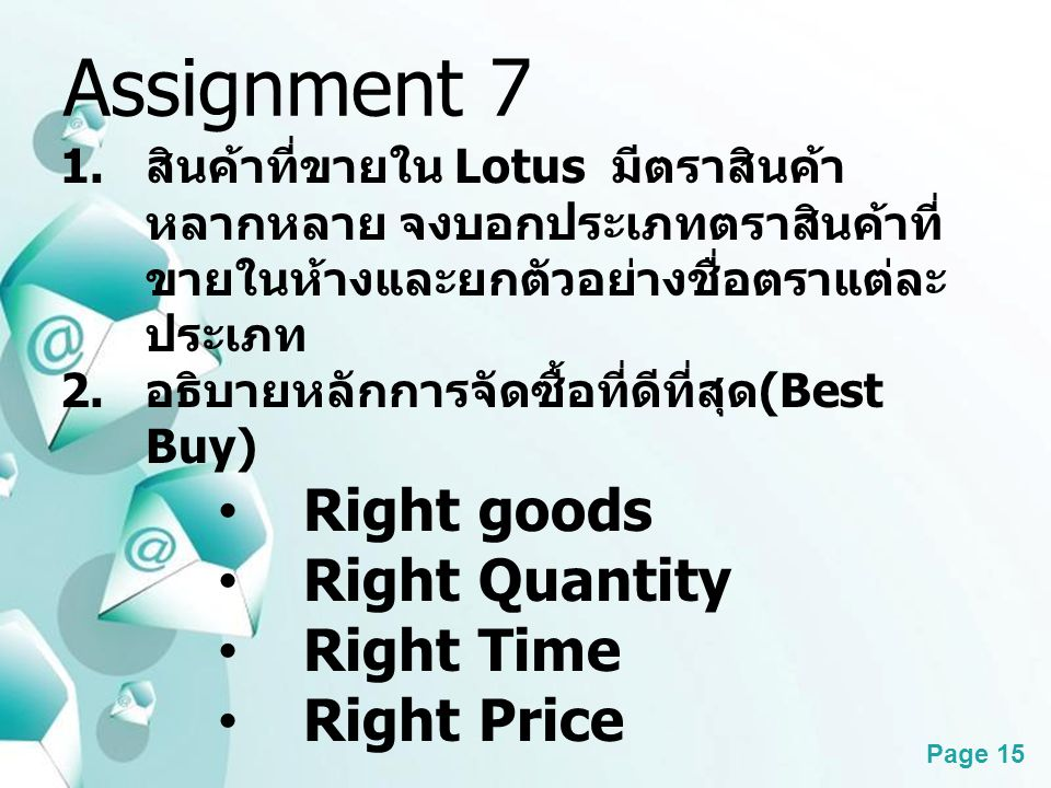 Assignment 7 Right goods Right Quantity Right Time Right Price