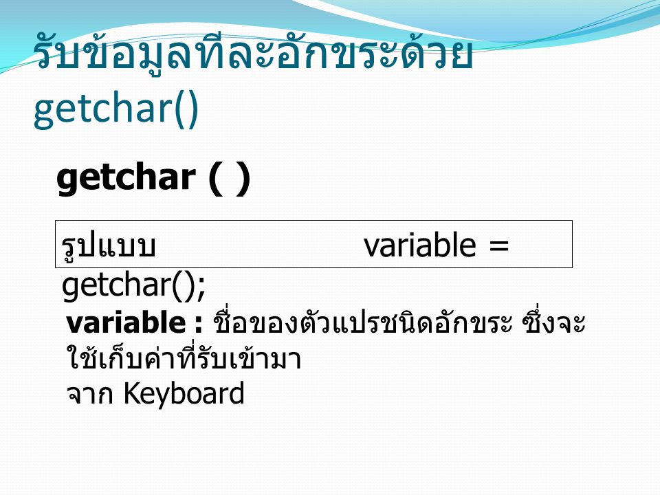 รับข้อมูลทีละอักขระด้วย getchar()