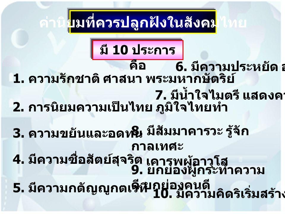 ค่านิยมที่ควรปลูกฝังในสังคมไทย