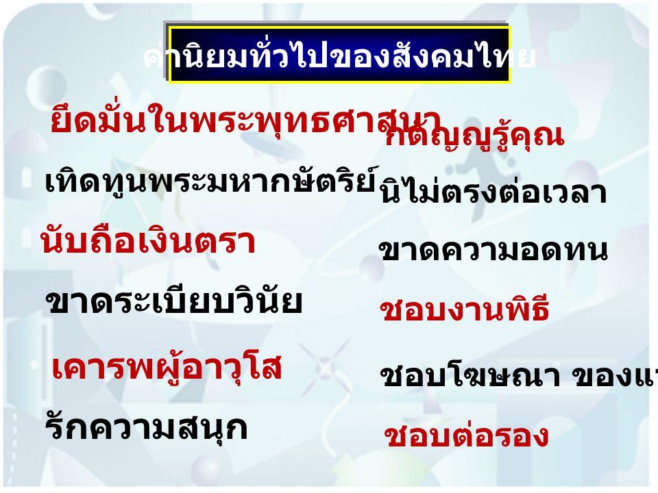 ค่านิยมทั่วไปของสังคมไทย