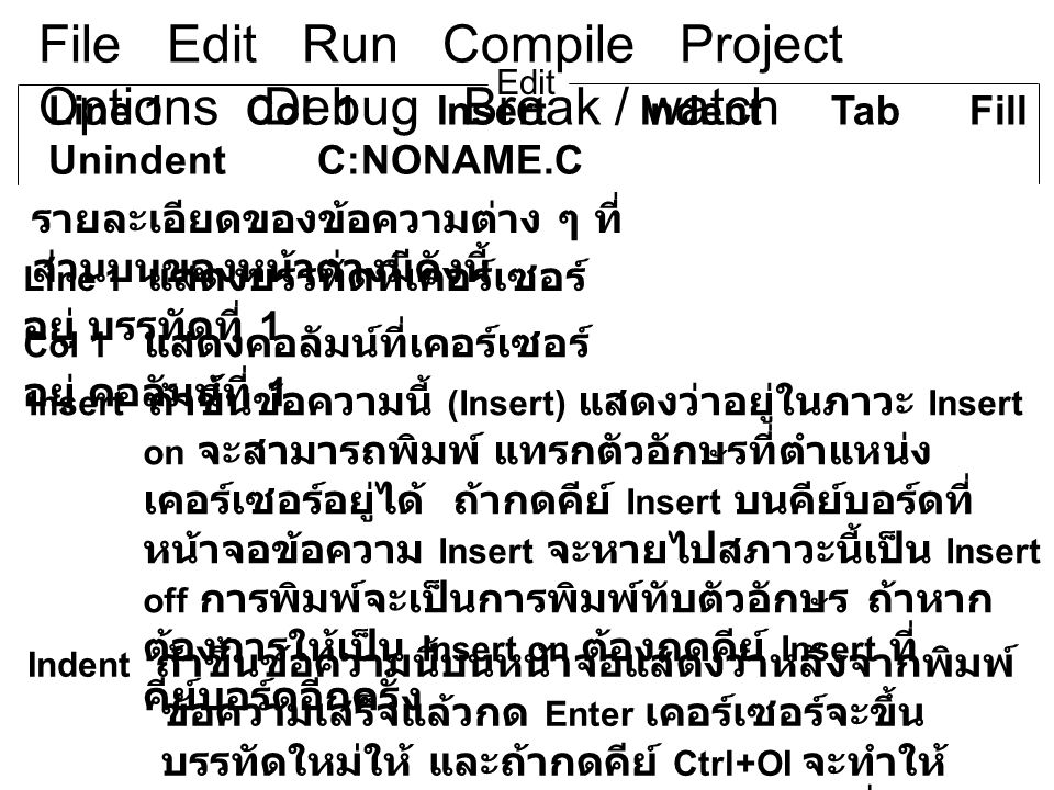 File Edit Run Compile Project Options Debug Break / watch