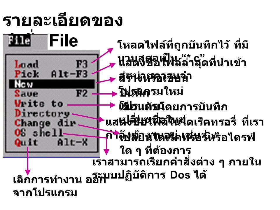 รายละเอียดของคำสั่ง File