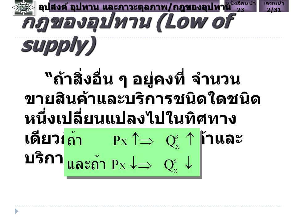 กฎของอุปทาน (Low of supply)