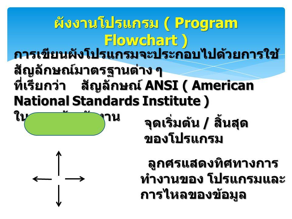 ผังงานโปรแกรม ( Program Flowchart )