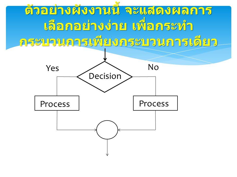 ตัวอย่างผังงานนี้ จะแสดงผลการเลือกอย่างง่าย เพื่อกระทำกระบวนการเพียงกระบวนการเดียว