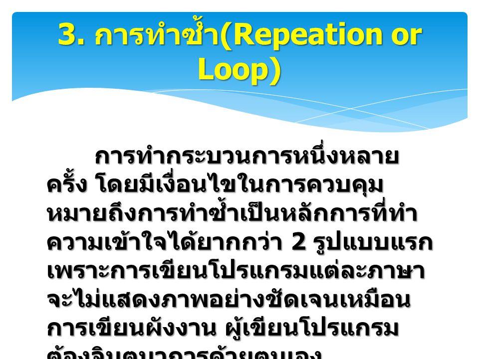 3. การทำซ้ำ(Repeation or Loop)