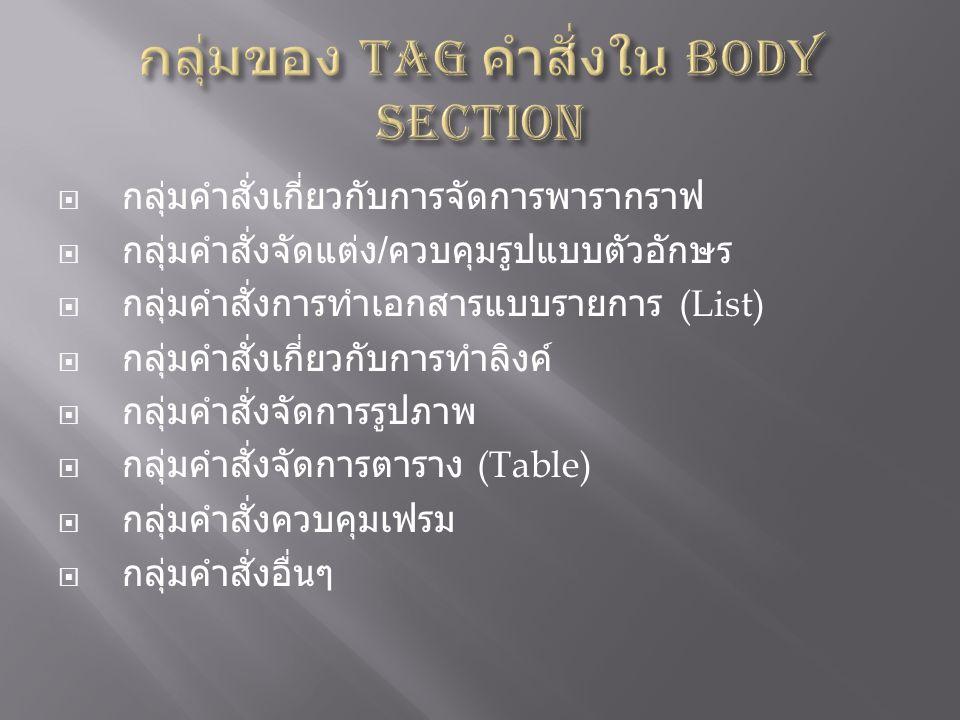 กลุ่มของ Tag คำสั่งใน Body Section