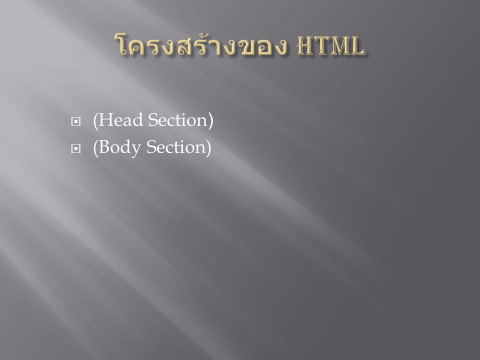 โครงสร้างของ HTML (Head Section) (Body Section)