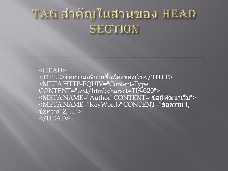 Tag สำคัญในส่วนของ Head Section