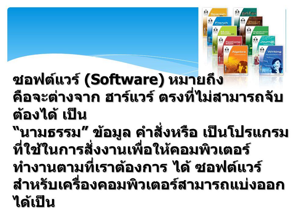 ซอฟต์แวร์ (Software) หมายถึง