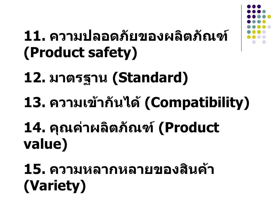 11. ความปลอดภัยของผลิตภัณฑ์ (Product safety)