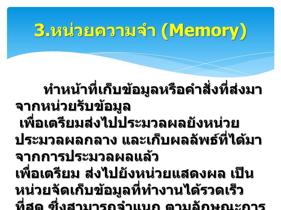 3.หน่วยความจำ (Memory)