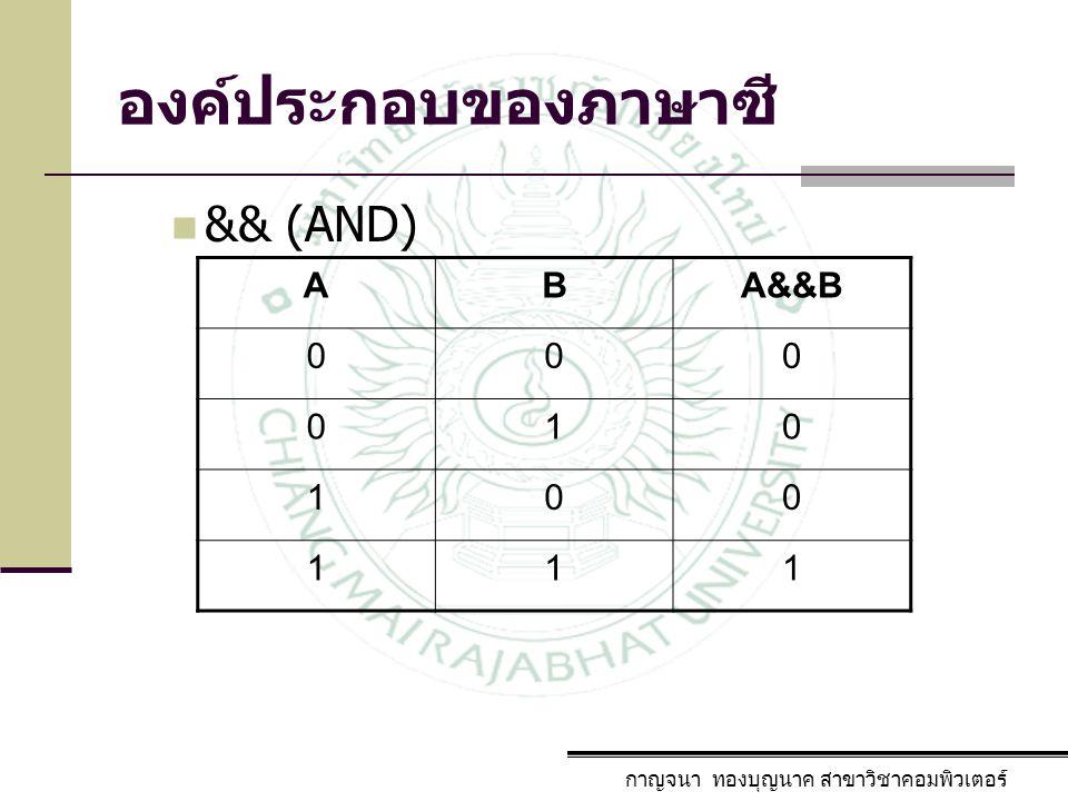 องค์ประกอบของภาษาซี && (AND) A B A&&B 1