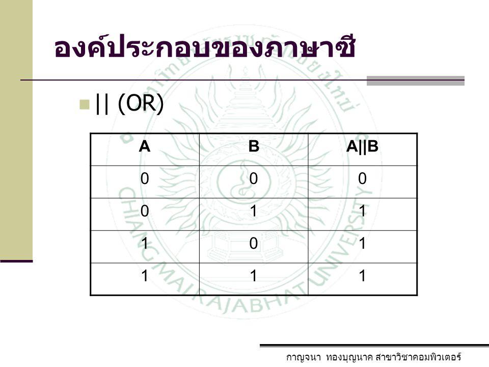 องค์ประกอบของภาษาซี || (OR) A B A||B 1