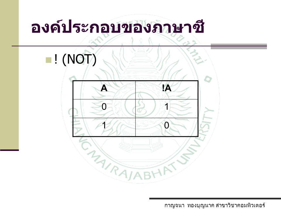 องค์ประกอบของภาษาซี ! (NOT) A !A 1