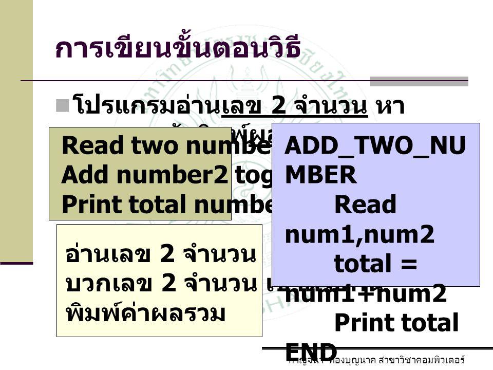 การเขียนขั้นตอนวิธี โปรแกรมอ่านเลข 2 จำนวน หาผลรวมแล้วพิมพ์ผลรวม