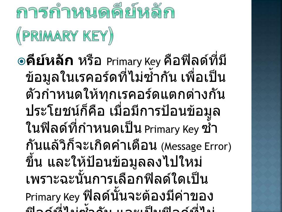การกำหนดคีย์หลัก (Primary Key)