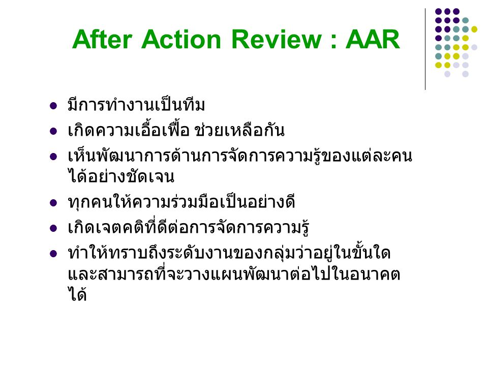 After Action Review : AAR