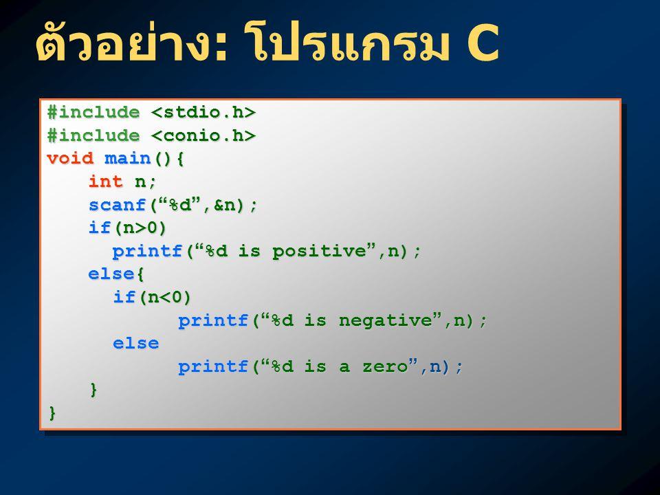 ตัวอย่าง: โปรแกรม C #include <stdio.h> #include <conio.h>