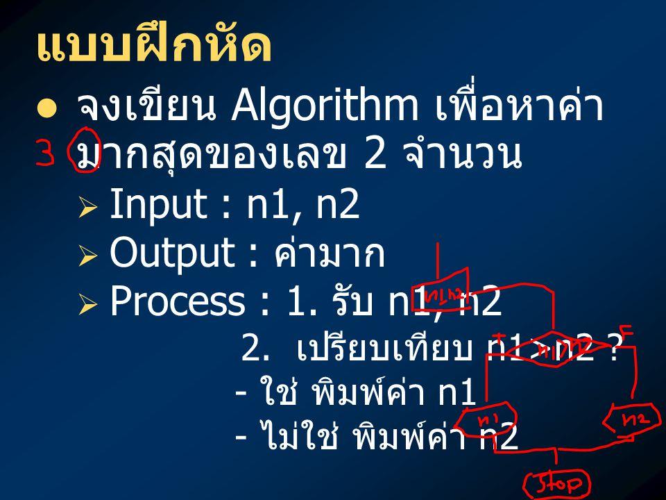 แบบฝึกหัด จงเขียน Algorithm เพื่อหาค่ามากสุดของเลข 2 จำนวน