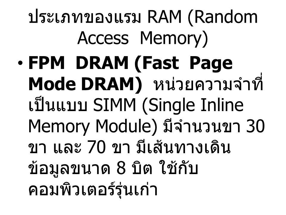 ประเภทของแรม RAM (Random Access Memory)