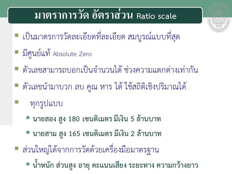 มาตราการวัด อัตราส่วน Ratio scale