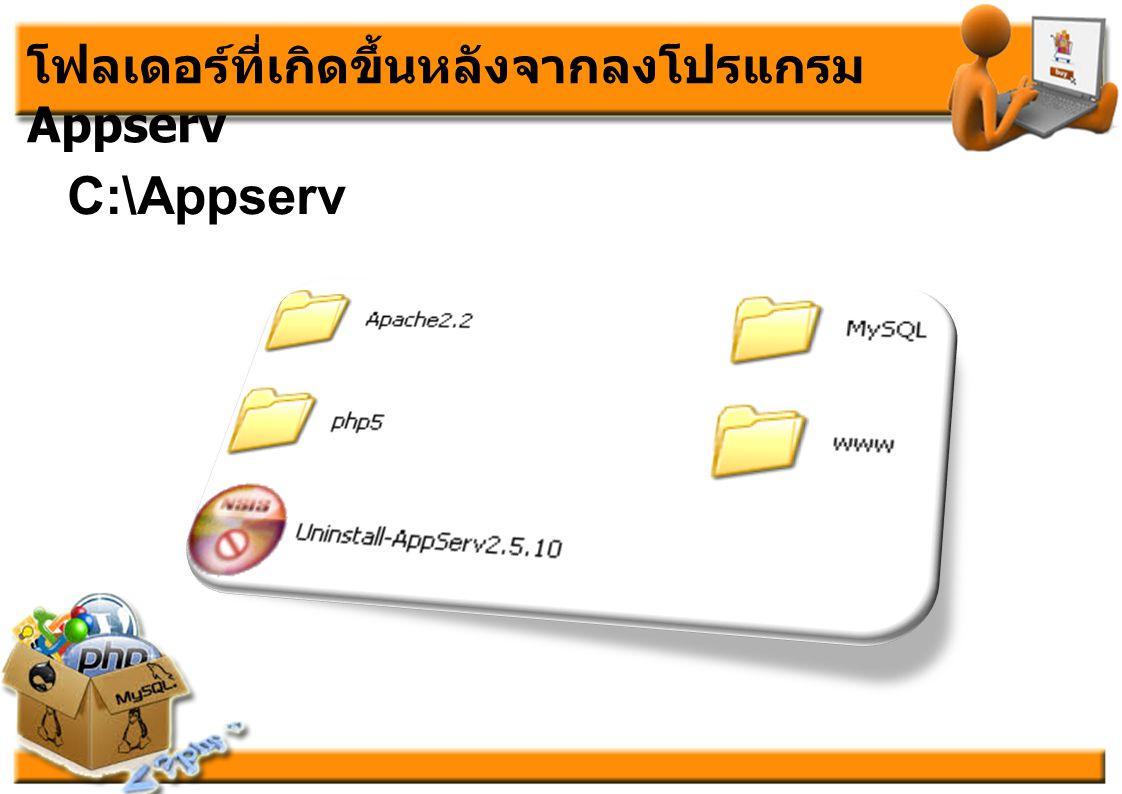 โฟลเดอร์ที่เกิดขึ้นหลังจากลงโปรแกรม Appserv