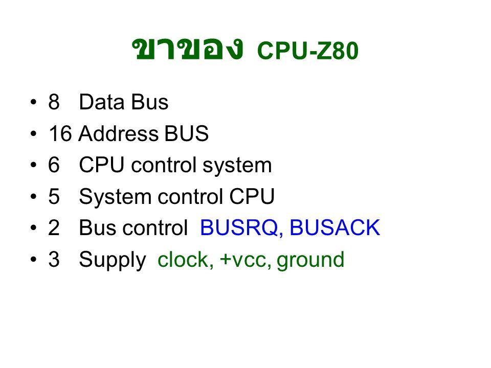 ขาของ CPU-Z80 8 Data Bus 16 Address BUS 6 CPU control system