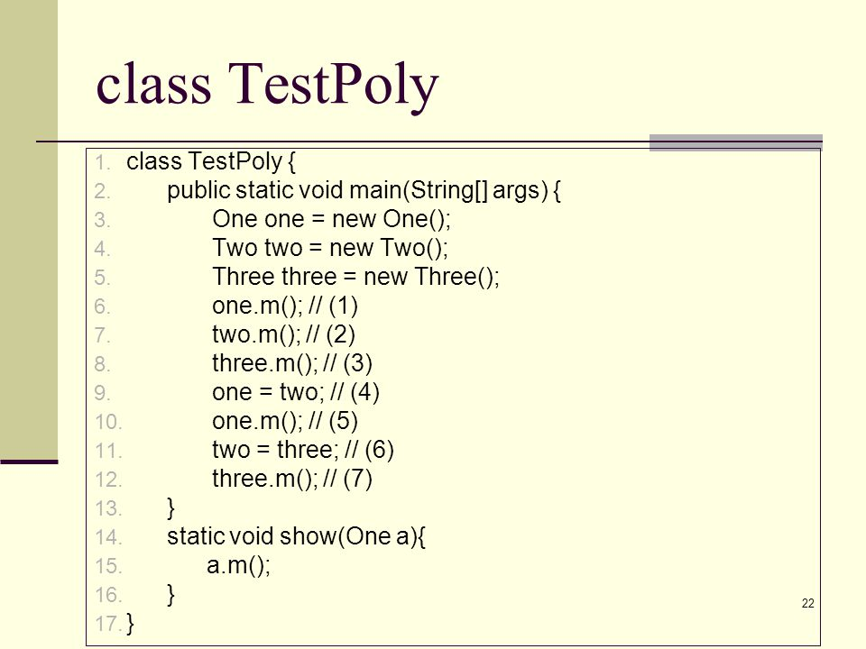 class TestPoly class TestPoly {