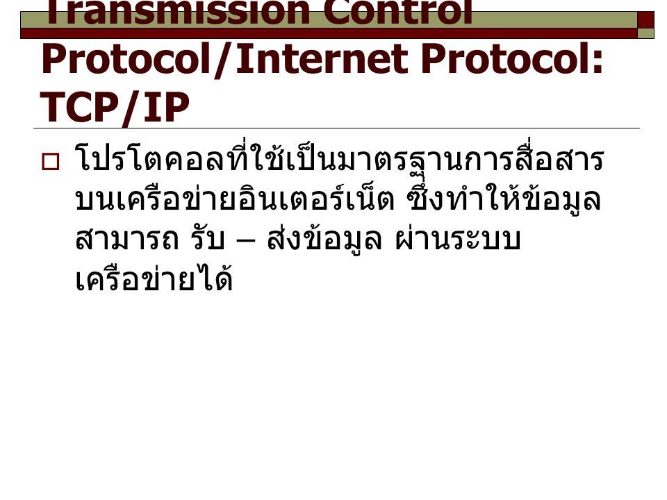Transmission Control Protocol/Internet Protocol: TCP/IP
