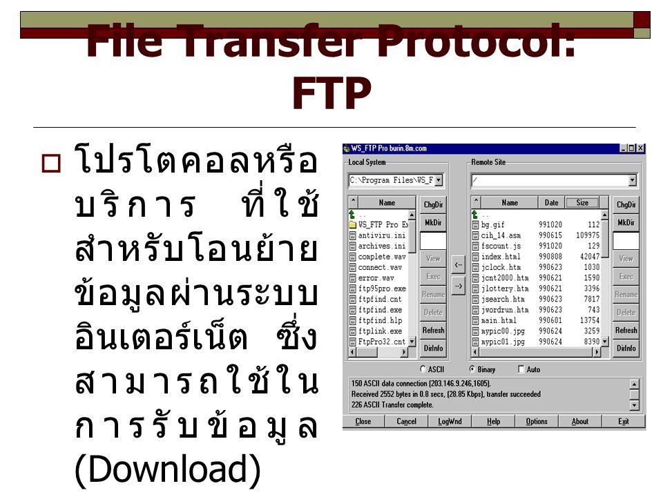 File Transfer Protocol: FTP