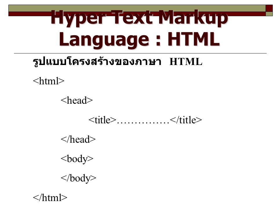 Hyper Text Markup Language : HTML