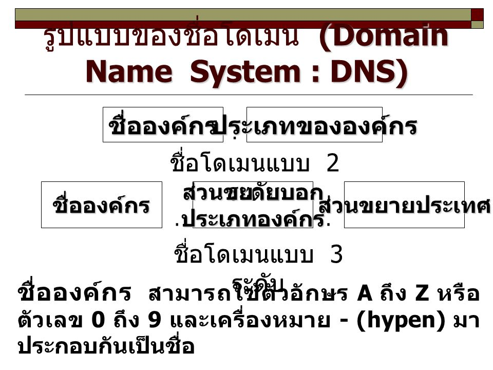 รูปแบบของชื่อโดเมน (Domain Name System : DNS)