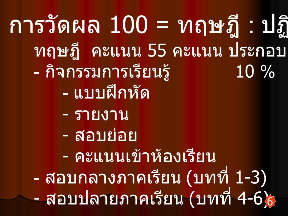 การวัดผล 100 = ทฤษฎี : ปฏิบัติ (55-45)